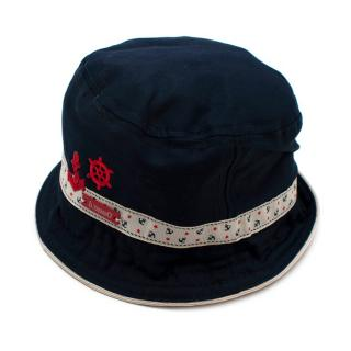 Il Trenino Artisanal Navy Bucket Hat with Sailor Embroidery