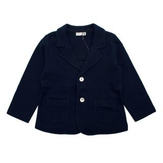 JO Milano Waffle Knit Navy Sustainable Cotton Cardigan