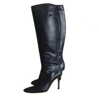 Rupert Sanderson Black Leather Classic Knee Boots