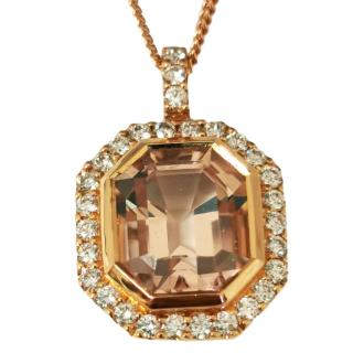 William & Son Morganite & Diamond Pendant Necklace