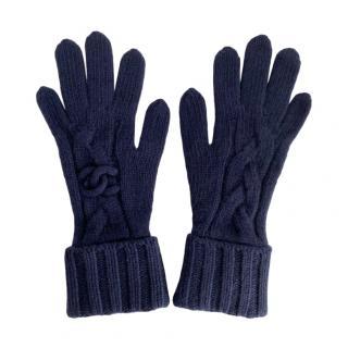 Chanel Blue Cashmere Knit CC Gloves
