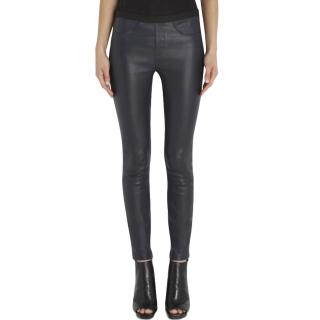 Helmut Lang Navy Stretch Leather Leggings