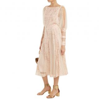 REDValentino Blush Pleated Georgette Lace Panelled Midi Dress