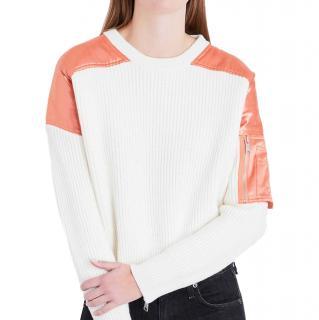 Maje x Schott Wool Blend Shoulder Patch Sweater