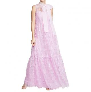 Self Portrait Lilac/Pink Teardrop Sleeveless Lace Maxi Dress