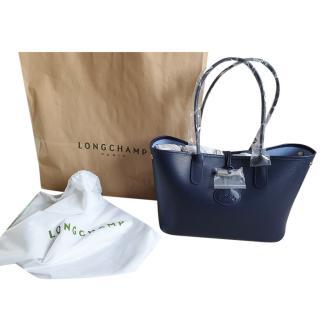 Longchamp Navy Leather Tote Bag