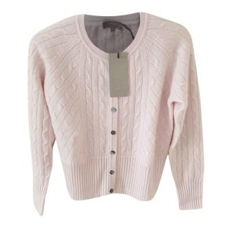 N Peal Pale Pink Cropped Cable Knit Cashmere Cardigan