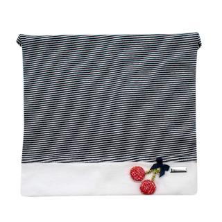 Il Trenino Artisanal Navy & White Striped Cherry Applique Bandana Hat
