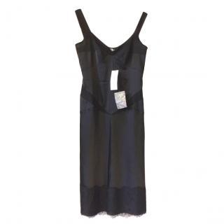DVF Black Lace Trimmed Sleeveless Dress