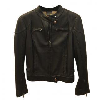 Fendi Selleria Black Leather Biker Jacket