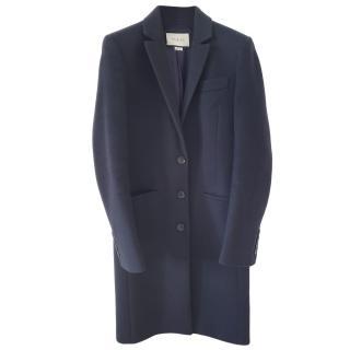 Gucci navy blue virgin wool single breasted coat