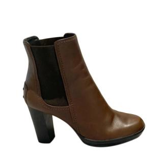 Tod's Brown Leather Platform Heeled Leather Boots
