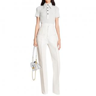 Louis Vuitton Ivory Tailored Wool & Silk Mikado Pants