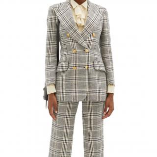 Gucci Double Breasted Wool Blend Tailored Jacket