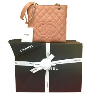 Chanel Beige Caviar Leather Petite Shopping Tote