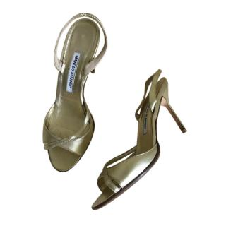 Manolo Blahnik Gold Leather Sandals