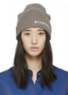 Givenchy Taupe Knit Embroidered Beanie