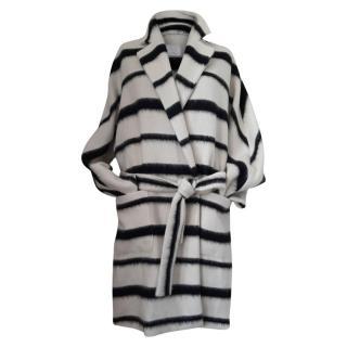 Marina Rinaldi Striped Mohair & Virgin Wool Blend Coat