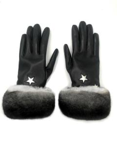 FurbySD Cashmere Lined Leather Chinchilla Fur Trimmed Gloves
