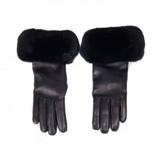 FurbySD Black Chinchilla Fur Trim Leather Gloves