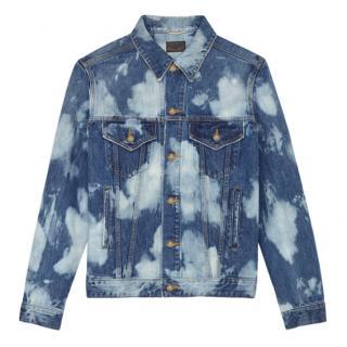 Saint Laurent Destroyed Jean Jacket In Blue Punk