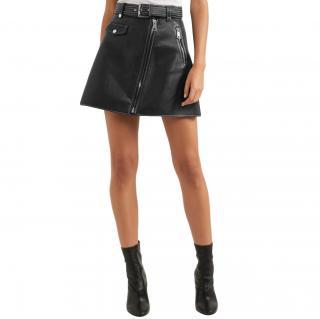 Maje Asymmetric Zipper A-line Leather Skirt