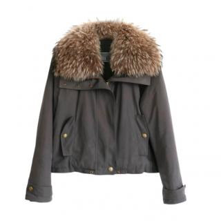 Yves Salomon Army Fur Trim Khaki Jacket