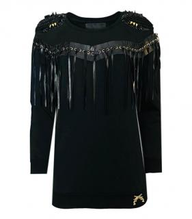 Philipp Plein Couture Leather Lace-up Tassel Trimmed Jumper