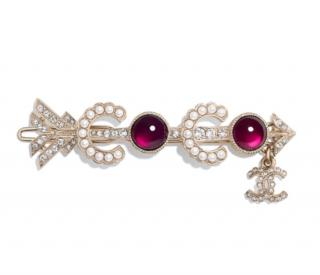Chanel Gold Tone Faux Pearl & Crystal Gripoix Hair Clip