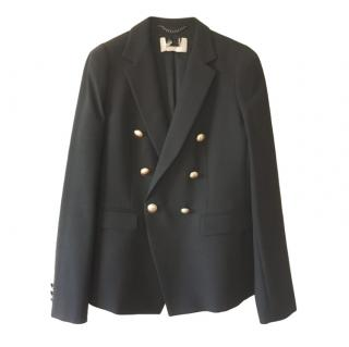 MaxMara black double breasted wool blend blazer