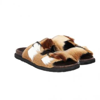 Max Mara Buckle Detail Fur Slip-Ons, natural
