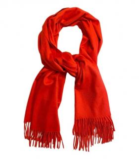 Hermes Red Cashmere Knit Scarf