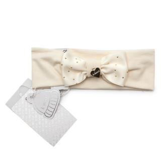 Il Trenino Artisanal Cream Cotton Blend Bow Applique Headband