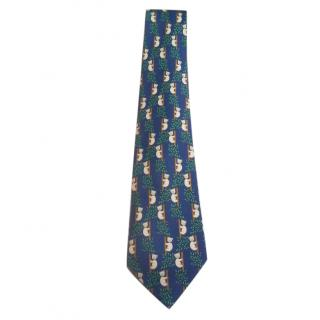 Hermes Blue Climbing Bears Silk Tie