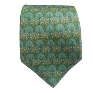 Hermes OA Floral Green Embroidered Silk TIe