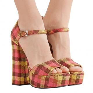 Prada Pink & Yellow Check Platform Sandals