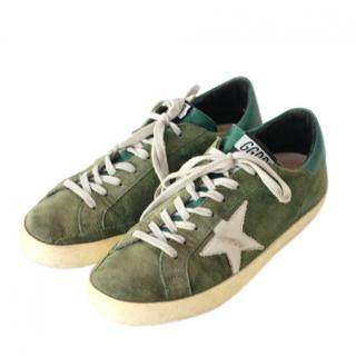 Golden Goose Green Suede Superstar Sneakers