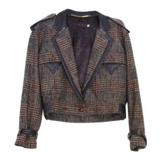 Escada Wool Prince of Wales Check Leather Trimmed Jacket