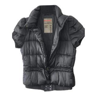 Prada Black Cap-Sleeve Down Puffer Jacket