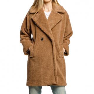 Max Mara Camel Double Breasted Teddy Coat