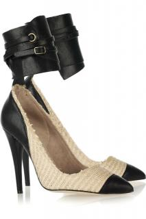 Isabel Marant Gava cotton-raffia and leather pumps