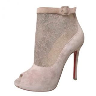 Christian Louboutin Lace Detailed Suede Peep Toe Ankle Boots