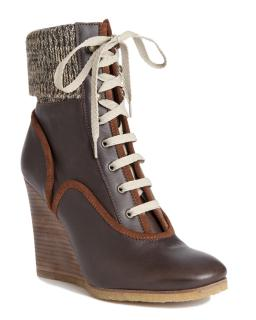 Chloe Brown Leather & Knit Wedge Ankle Boots