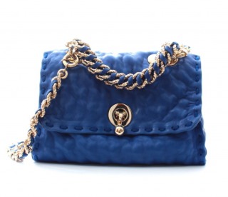 Ermanno Scervino Blue Textured Leather Faubourg Crossbody Bag