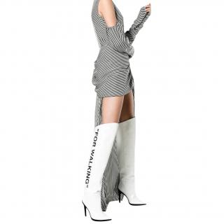 Off White For Walking printed leather over-the-knee boots