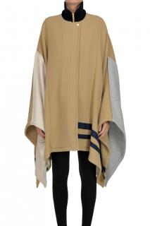 Chloe Wool Blend Colourblock Cape Coat