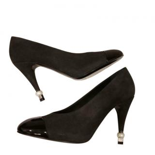 Chanel Black Suede Patent Cap-Toe Pumps
