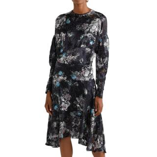 Preen by Thornton Bregazzi Jemima Satin Devore Asymmetric Dress