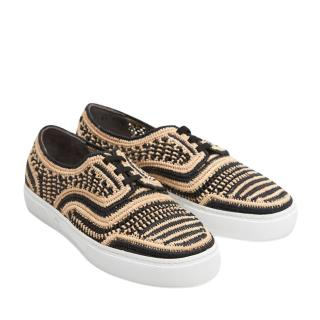 Robert Clergerie Teba Raffia Sneakers in Black and Natural