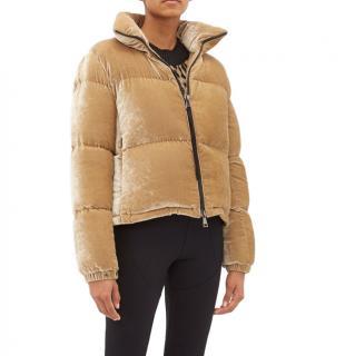 Moncler Rimac velvet high-neck quilted jacket